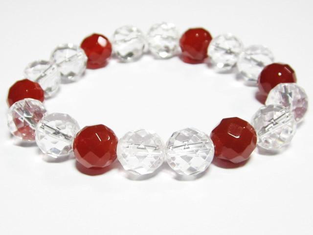開運の紅白ブレスレット・パワーストーン水晶カットと赤めのうブレスレット