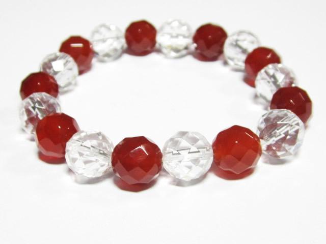 開運の紅白ブレスレット・パワーストーン 水晶10mm64面カット 赤メノウ10mm64面カット交互 ブレスレット