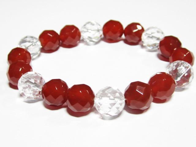 開運の紅白ブレスレット・パワーストーン赤メノウ・赤メノウ(10mm64面カット) 水晶10mm64面カット ブレスレット
