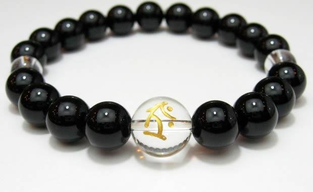 守護梵字・干支梵字「虚空蔵菩薩 タラーク」オニキス10mm数珠パワーストーンブレスレット