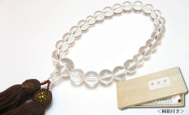 パワーストーン念珠男性用・最高級天然水晶12mm数珠 正絹茶房