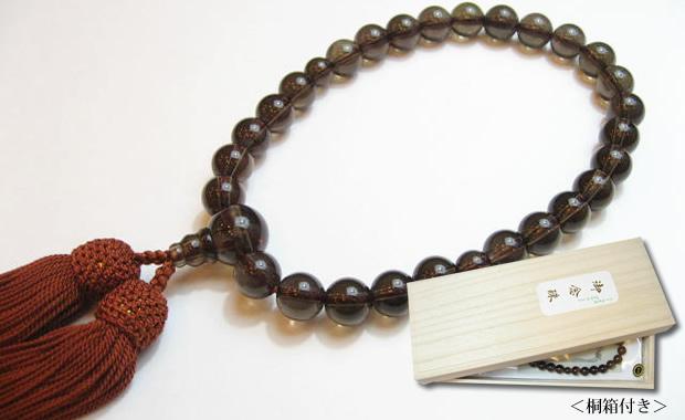 パワーストーン念珠・茶水晶10mm数珠 正絹赤茶房