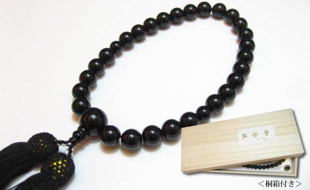 パワーストーン男性用念珠・オニキス10mm数珠 正絹黒房