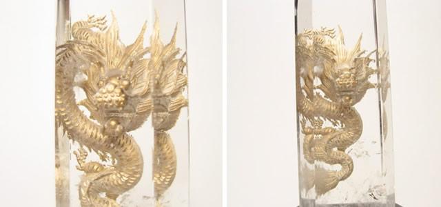 水晶の龍の彫刻・水晶ポイント