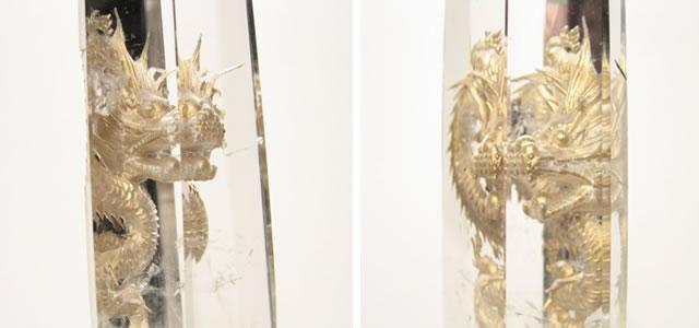 龍の彫刻・水晶ポイント