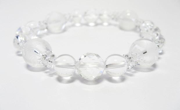 パワーストーンブレスレット・水晶四神獣水晶カット白水晶ブレスレット