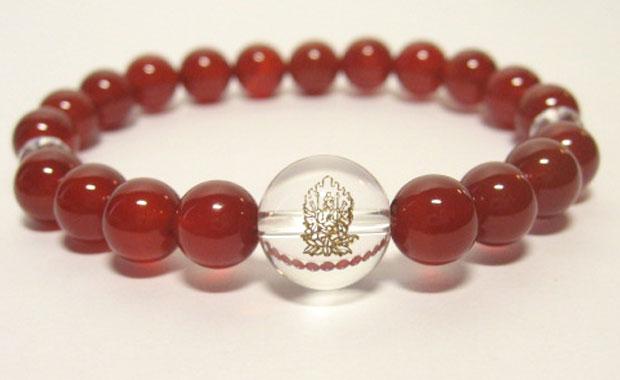 干支守護神【千手観音菩薩】子年の干支守護石 ・赤メノウブレスレット数珠仕立て