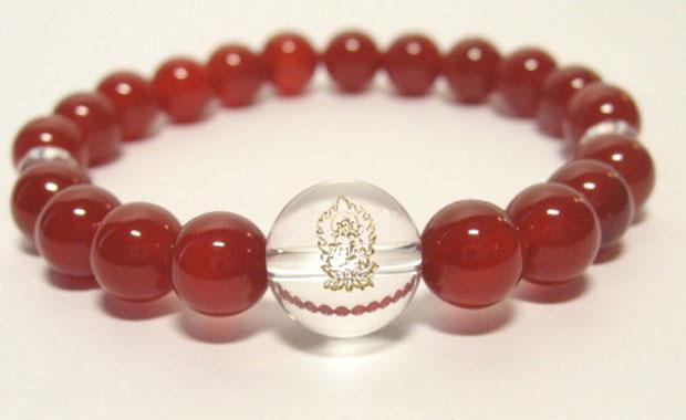 干支守護【虚空蔵菩薩】丑年・寅年の干支守護石 ・赤メノウブレスレット数珠仕立て