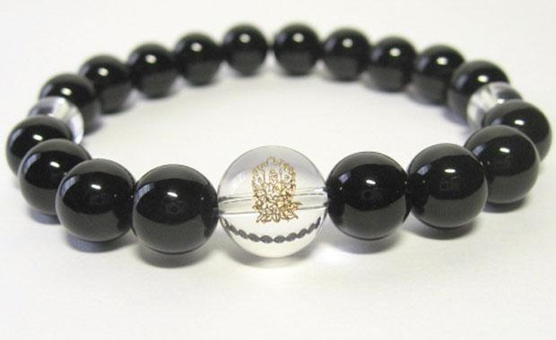 干支守護神【千手観音菩薩】子年の干支守護石 ・干支守り本尊オニキスブレスレット10mm数珠仕立て