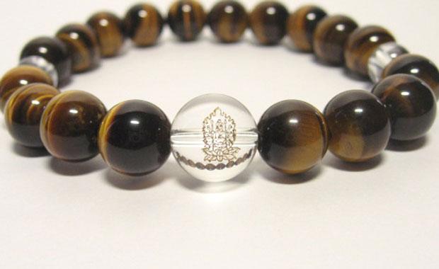 干支守護神【千手観音菩薩】子年の干支守護石 ・十二支守り本尊タイガーアイブレスレット10mm数珠仕立て