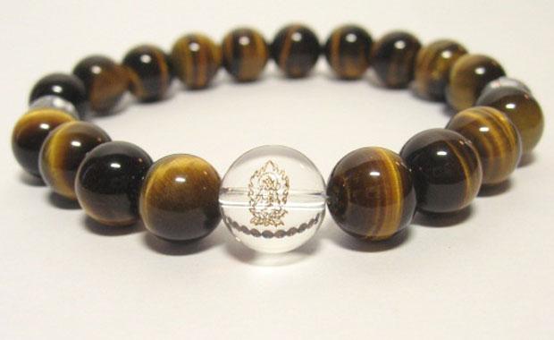 干支守護神【虚空蔵菩薩】丑年・寅年の干支守護石 ・十二支守り本尊タイガーアイブレスレット10mm数珠仕立て