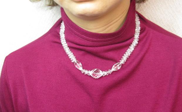水晶カット八角ネックレス・パワーストーンのお守り水晶ネックレス