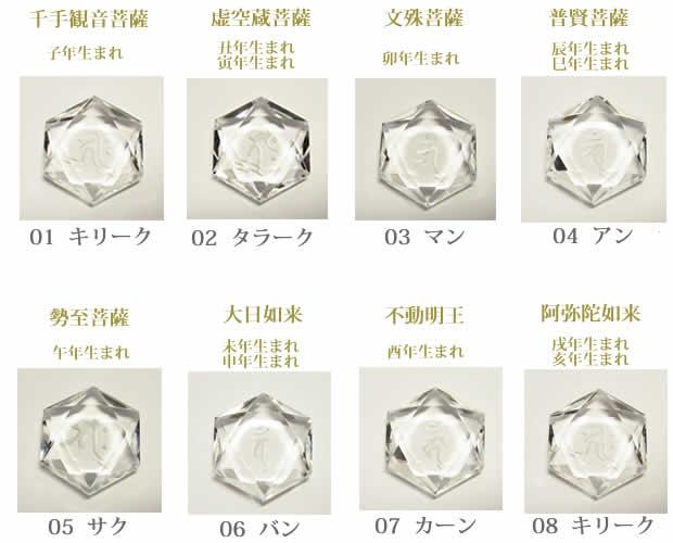 生まれ年の守護本尊の梵字水晶カット六芒星・願い事を叶える幸運石></p>  <br><br> <p style=