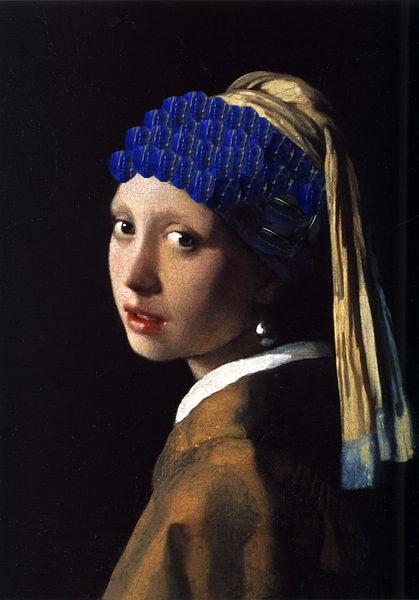 フェルメールの青色・ラピスラズリの瑠璃色・青いターバンを当店のラピスラズリで塗ってみました。