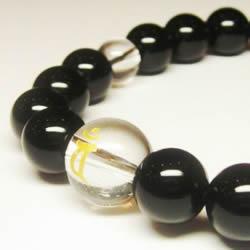 干支梵字 オニキス10mm数珠ブレスレット  水晶ブレスレット・パワーストーンブレスレット
