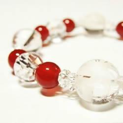 四神獣水晶カット赤メノウブレスレット 内径16cm  水晶ブレスレット・パワーストーンブレスレット