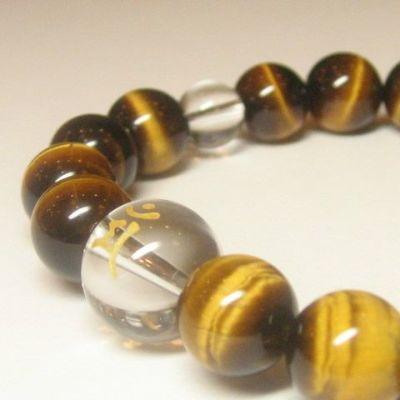 干支梵字「文殊菩薩 マン」タイガーアイ10mm数珠ブレスレット
