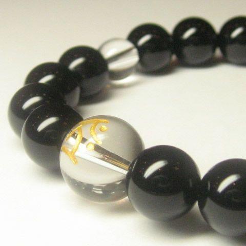 干支梵字「虚空蔵菩薩 タラーク」オニキス10mm数珠ブレスレット