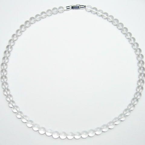 本物の水晶ネックレス8mm 長さ50cm・パワーストーンのお守り水晶ネックレス