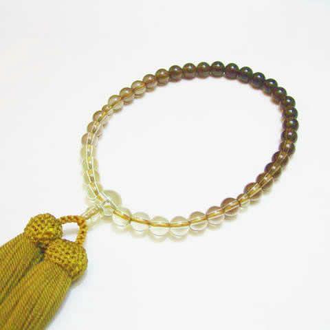 パワーストーン 数珠・茶水晶グラデーション7mm念珠 正絹カラシ房