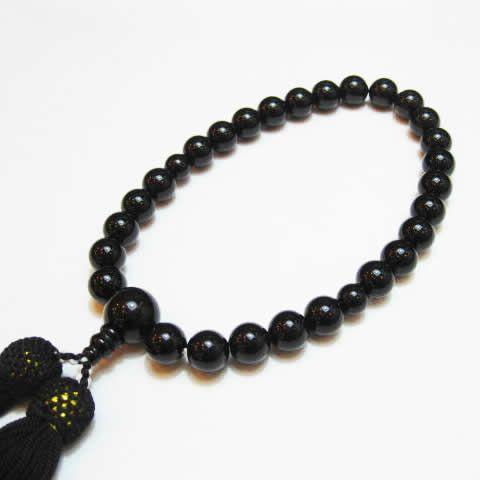 葬儀で持てる数珠・オニキス念珠男性用/パワーストーン