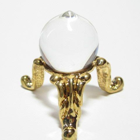 最高級 天然 水晶 如意宝珠15mm 台座付