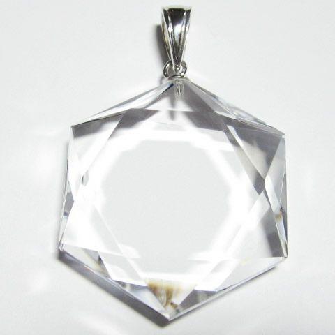 六芒星(ヘキサグラム)ダビデの星ペンダントトップ シルバー金具