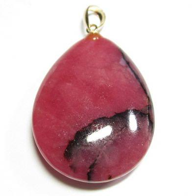 ロードナイトペンダントトップ 金具18金/ロードナイトは美しい薔薇色で「薔薇輝石」と呼ばれるパワーストーンです