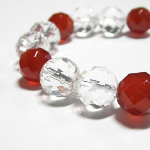 魔除けの開運の紅白ブレス・パワーストーン水晶カット・水晶カット・赤メノウカットブレスレット